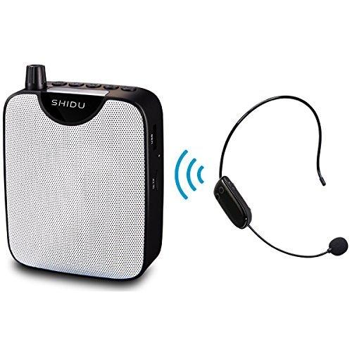 SHIDU UHF Amplificador de Voz con Clip Portátil inalámbrico micrófonos para Profesores, Entrenadores, Líder, presentaciones, Disfraces, etc.