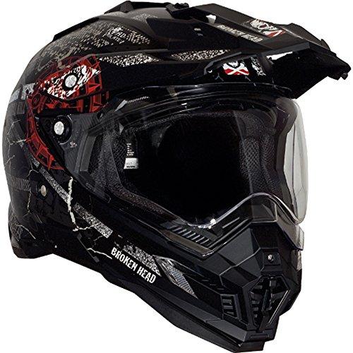Broken Head Road Pirate Black Edition | Enduro Helm - MX Motocross Helm mit Sonnenblende Größe M (57-58 cm) - 3