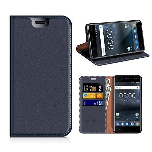 MOBESV Nokia 5 Hülle Leder, Nokia 5 Tasche Lederhülle/Wallet Case/Ledertasche Handyhülle/Schutzhülle mit Kartenfach für Nokia 5 - Dunkel Blau