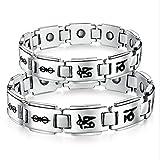 Adisaer Armband Edelstahl Breit Armbänder Paare Uhr Band Quader Achse Sutra Schwarz Nickelfrei 21Cm Allergiefrei Armband Für Herrn