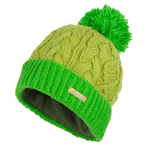 McRon Damen Gefütterte Wintermütze mit Bommel Macy Grün