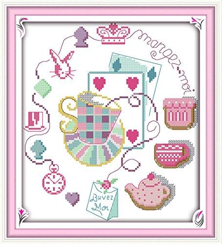 YEESAM Art® nouveaux Kits de point de croix Advanced - Accessoires de magie 14 fils 26 x 28 cm Blanc sur toile - Needlework cadeaux de Noël