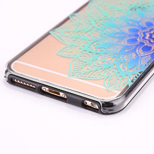 Custodia Cover iPhone 6/6S plus Silicone ,Ukayfe UltraSlim 2 in 1 Case per iPhone 6/6S plus in Gel TPU Custodia Morbida Soft Trasparente e Cristallo Protettiva Cover Resistente ai Graffi Anti Scivolo  Fiore blu