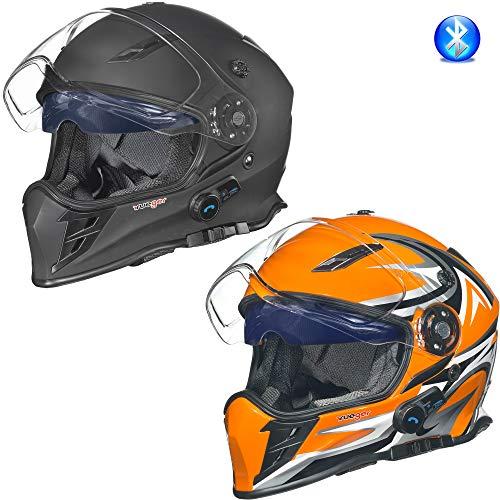 rueger-helmets RX-968 COM Bluetooth Integralhelm Motorradhelm Chopper Integral Retro Helm, Größe:L (59-60), Farbe:Orange V/RCK