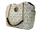 MICHAEL Michael Kors Women's Jet Set Travel Large Chain Shoulder Tote Printed Handbag (Vanilla /Acorn)