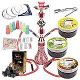 MERITON Shisha Set 2 Schläuchen mit 55cm Rot Hookah, 3x100gr. Shiazo Dampfsteine, Kohle, Folie und Kohlezange, Mundstücke