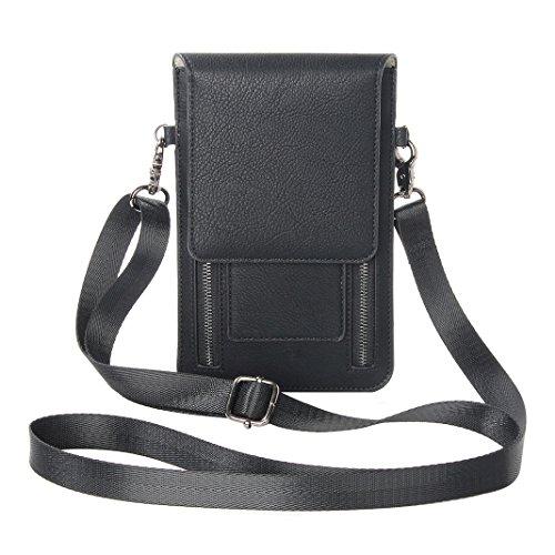 Zipper Phone Bag, Asnlove Premium PU Leder Crossbody Smartphone Tasche Schulter Umhängetasche weiche Taille Tasche Mode Handtasche mit Langem Riemen Geeignet für Grosse Smartphones 6.3 Zoll, Schwarz