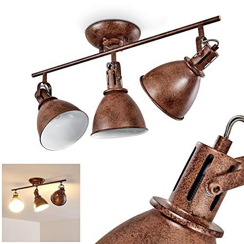 Deckenleuchte Koppom, Deckenlampe aus Metall in Rostbraun/Weiß, 3-flammig, mit verstellbaren Strahlern, 3 x E14-Fassung max. 40 Watt, Spot im Retro/Vintage Design, für LED Leuchtmittel geeignet