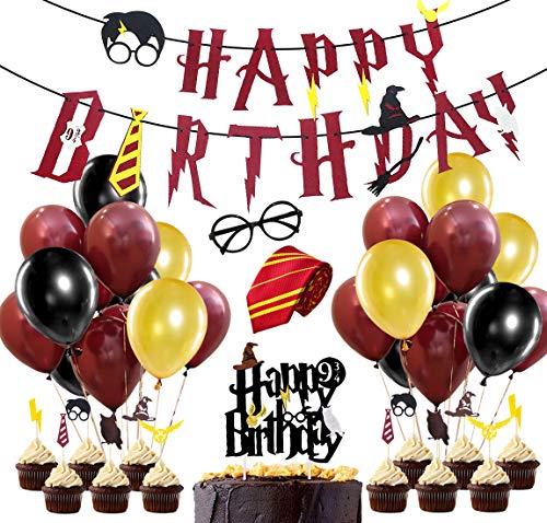 JOYMEMO Harry Potter Party Supplies, Wein rot Alles Gute zum Geburtstag Banner, gestreifte Krawatte, Wizard Gläser, Cake Toppers für Harry Potter Birthday Party Dekorationen (Potter Dekorieren Kit Harry Kuchen)