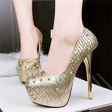 Moda Donna Sandali Sexy donna tacchi Estate / Autunno piattaforma abito sintetico Stiletto Heel Crystal Black / Silver / Oro Altri Silver