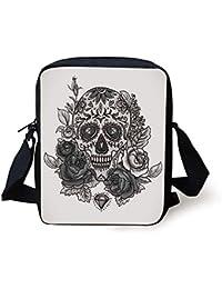 Sugar Skull,Monochrome Skull with Roses Leaves and Diamond Shape Folklore Festival Print Decorative,