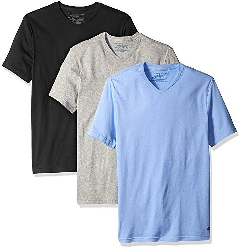 Preisvergleich Produktbild Tommy Hilfiger Men's Undershirts 3 Pack Cotton Classics Slim Fit V-Neck T-Shirt (X-Large, Black/Soft Blue/Grey)