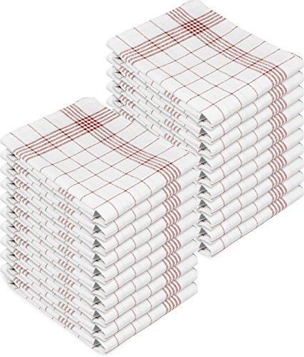 normani 10 oder 20 Halbleinen Geschirrtücher Gläsertücher Classic in 60 x 80 cm Farbe 20er Pack Rot-Kariert Größe 60 x 80 cm