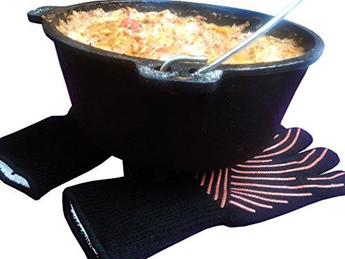 51g5sSDR10L - Premium Grillhandschuhe / 2er Set / Bis 500°C Hitzebeständig / EN407 Zertifizierte Ofenhandschuhe Aus Kevlar-Nomex Gewebe / Extra Lang Zum Grillen, Kochen & Backen / Ess-Nische Backhandschuhe