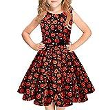 Idgreatim Mode Halloween Mädchen Kleid Kürbis Blume Gürtel Vintage Party Rockabilly A-Linie Kleider für Mädchen