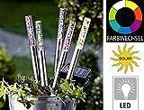 5er Set Edelstahl/ Acryl Solar LED Garten Stick. Solarleuchte mit extra großem Solarpanel, Dämmerungssensor und RGB Farbwechsel. Leuchte, Lampe, Wegeleuchte, Wegbeleuchtung, Garten, Terrasse