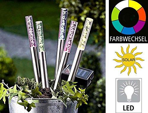5er Set Edelstahl/ Acryl Solar LED Garten Stick. Solarleuchte mit extra großem Solarpanel, Dämmerungssensor und RGB Farbwechsel. Leuchte, Lampe, Wegeleuchte, Wegbeleuchtung, Garten, Terrasse -