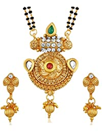 PALASH ARTISAN DESIGNER GOLD PLATED MANGALSUTRA WITH MULTI-COLOR STONES FOR WOMEN