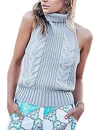 Suéter del suéter de cuello alto sin espalda Elegant de las mujeres