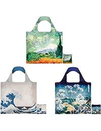 LOQI Scenic Museum Reusable Bags (Set Of 3), Multicolor