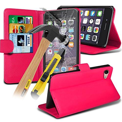 Aventus ( Orange ) Apple iPhone 6S Case Protective Elegant Dura prova Survivor duro Rugged Shock Heavy Duty Case W / basamento della parte posteriore, vetro Temperato schermo LCD proteggi, Panno e Min Wallet + Tempered ( Hot Pink )