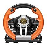 ZIHENGUO Regulador del Juego del Volante de Carreras 180 Grados de rotación Vibración Joysticks con Pedal Plegable para PC PS3 PS4 Xbox One Todo en uno,Orange