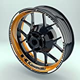 OneWheel Felgenaufkleber Kawasaki Saw für Motorrad   17 Zoll   Komplett Set für Vorder- und Hinterreifen   Rim Sticker (Orange)