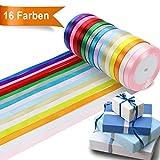 Orthland Satinband Geschenkband, 16 Farben 365m Schleifenband Dekoband Ripsband...