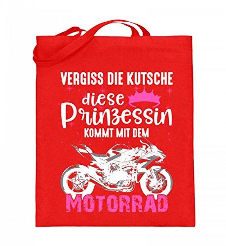 Hochwertiger Jutebeutel (mit langen Henkeln) - Motorrad Superbike Prinzessin Rubinrot