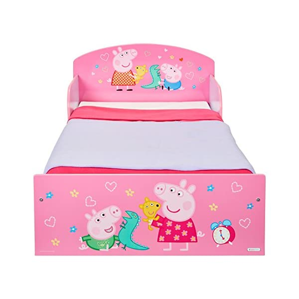 Peppa Pig Kids Toddler Bed by HelloHome Peppa Pig. Snuggle in after a day of play in this Peppa Pig Toddler Bed Perfect size for toddlers, low to the ground with protective and sturdy side guards to keep your little one safe and snug Fits a standard cot bed mattress size 140cm x 70cm, mattress not included. Part of the Peppa Pig bedroom furniture range from HelloHome 30