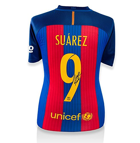 Icons-Shop-Unisex-ICLSBS6-Luis-Suarez-Back-Signed-Barcelona-2016-17-Home-Shirt-Multi-Colour