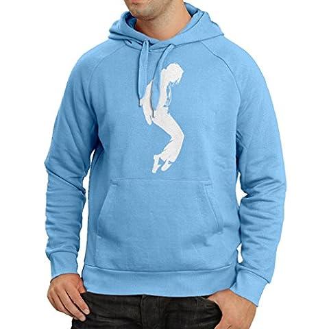 Sweatshirt à capuche manches longues J'adore MJ - vêtements de fan club, vêtements de concert (Large Bleu Blanc)
