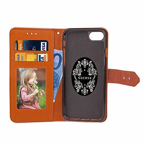 Pour Apple IPhone 7 Case Cover Style Mural Européen Embossed Pressage Flower Pattern PU Leather Wallet Case Avec Holder & Photo Frame & Slots De Carte ( Color : Purple ) Rose Gold