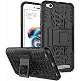 Anvika Defender Case For Redmi 5A Dual Layer Tough Rugged Shockproof Hybrid Warrior Armor Case Back Cover With Kickstand / Black