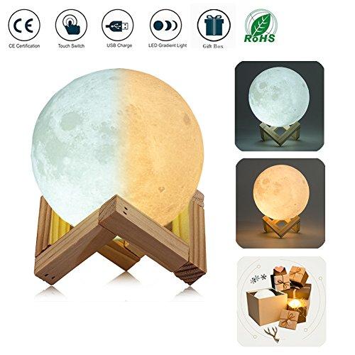 3D Moon Lampada LED Moon Lamp White / Caldo Dimmable Toccare Controllo Della Luminosità Night Light Luna con USB Caricamento e Monte di Legno, Miglior Regalo per Amici e Famiglia (20 CM)