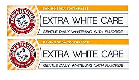 Arm & Marteau Extra Blanc Soin Bicarbonate De Soude Dentifrice Doux Journalier Blanchissant Pâte De Nettoyage pour dents avec Fluorure