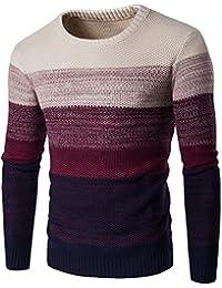 Zicac Winter Herren Fine Neuheit Langarm Stilvolle Streifen Strick Pullover Rundhals Strickwaren Slim Fit Verschiedene Farbe Casual Sweatshirt Top