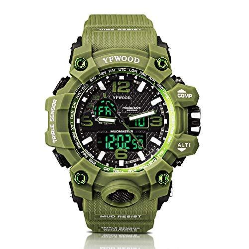 Sportuhr Männer Militäruhren Analog Quarz Army Boy Unisex Grün Muster Große Zifferblatt Digitale Multifunktionale Wasserdichte Armbanduhr mit El Light