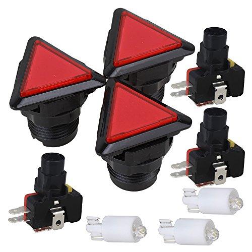 BQLZR Rot Vollgröße Spielkonsole Dreieck Drucker Mikro Knopf 3er Pack (Mikro-drucker)