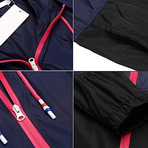 Damen Jacke Windbreaker Übergangsjacke Wasserabweisend Regenmantel Regenjacke mit Kapuze in 14 Farben Marine