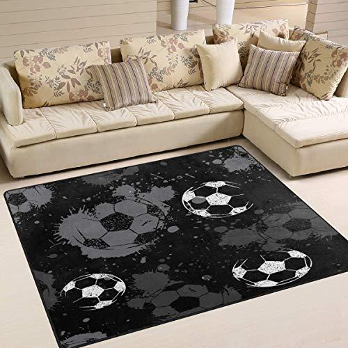 Teppich 63 x 48 Zoll abstrakte Fußball Fußball Ball Aquarell für Wohnzimmer Schlafzimmer (Marienkäfer-fußball-ball)