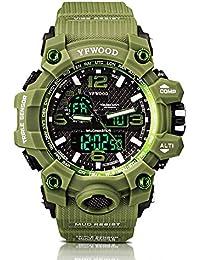Reloj deportivo Hombres Relojes militares Cuarzo analógico Army Boy Unisex Verde Patrón Dial grande Digital multifuncional