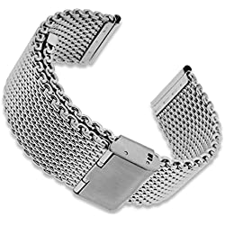 Stainless Steel Mesh Watch Band Strap Slide Clasp Adjustable Bracelet + Watch Pin Removal Tool + Polishing Cloth + 2 Spring Bars + Lifetime Warranty