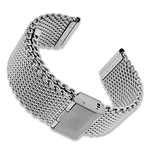 Stainless Steel Mesh 24mm Watch Band Strap Silver Safety Clasp Adjustable Bracelet + Watch Pin Removal Tool + Polishing Cloth + 2 Spring Bars + Lifetime Warranty