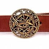 Buckle-Gürtel mit Schnalle in Form der Pitney-Brosche im Urnesstil der Wikinger in 3 cm Breite/Spalt-Leder Größe extra groß, Farbe braun