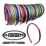 35 Cerchietti per Capelli Renmex Bambina e Ragazza Multicolore Alta Qualità Fasce Coperte da Nastro Tessuto Raso Tanti Colori Accessorio Aspetto Abbigliamento Hairbands Fashion Moda Hair Style