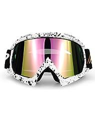 Gafas de esquí Nieve Gafas de esquí briller, Benma Snowboard Gafas anti niebla gafas de esquí snowboard deportivo para hombre mujer juvenil Protección UV motocicleta gafas amplio Unisex Color Blanco