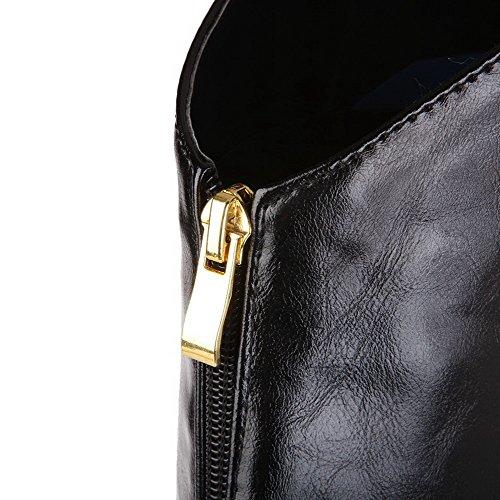 VogueZone009 Donna Alta Altezza Puro Cerniera Tacco Alto Stivali con Metallo Nero