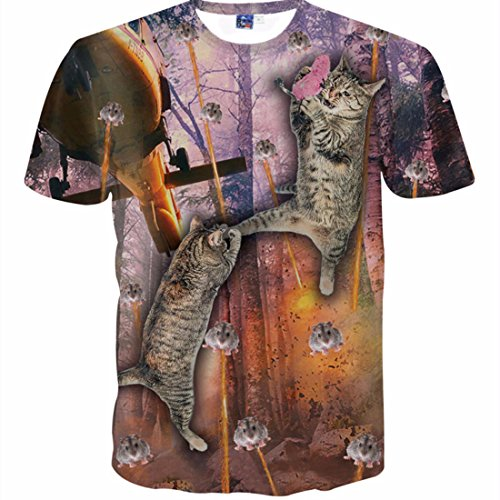 Men's 3D Camiseta with Cat Mouse Plane Printed On Both Side Homme Tee Shirt g1557
