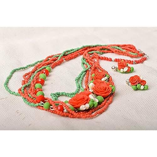 figuras kawaii porcelana fria Conjunto de bisuteria de porcelana fria pendientes y collar con flores hermosos